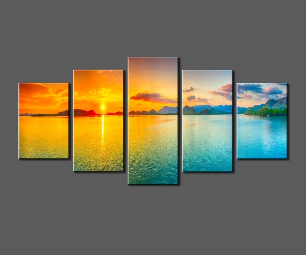 Sunset Ocean View, Framed Large Hd Canvas Print Painting Artwork Throughout Most Current Ocean Canvas Wall Art (View 4 of 15)