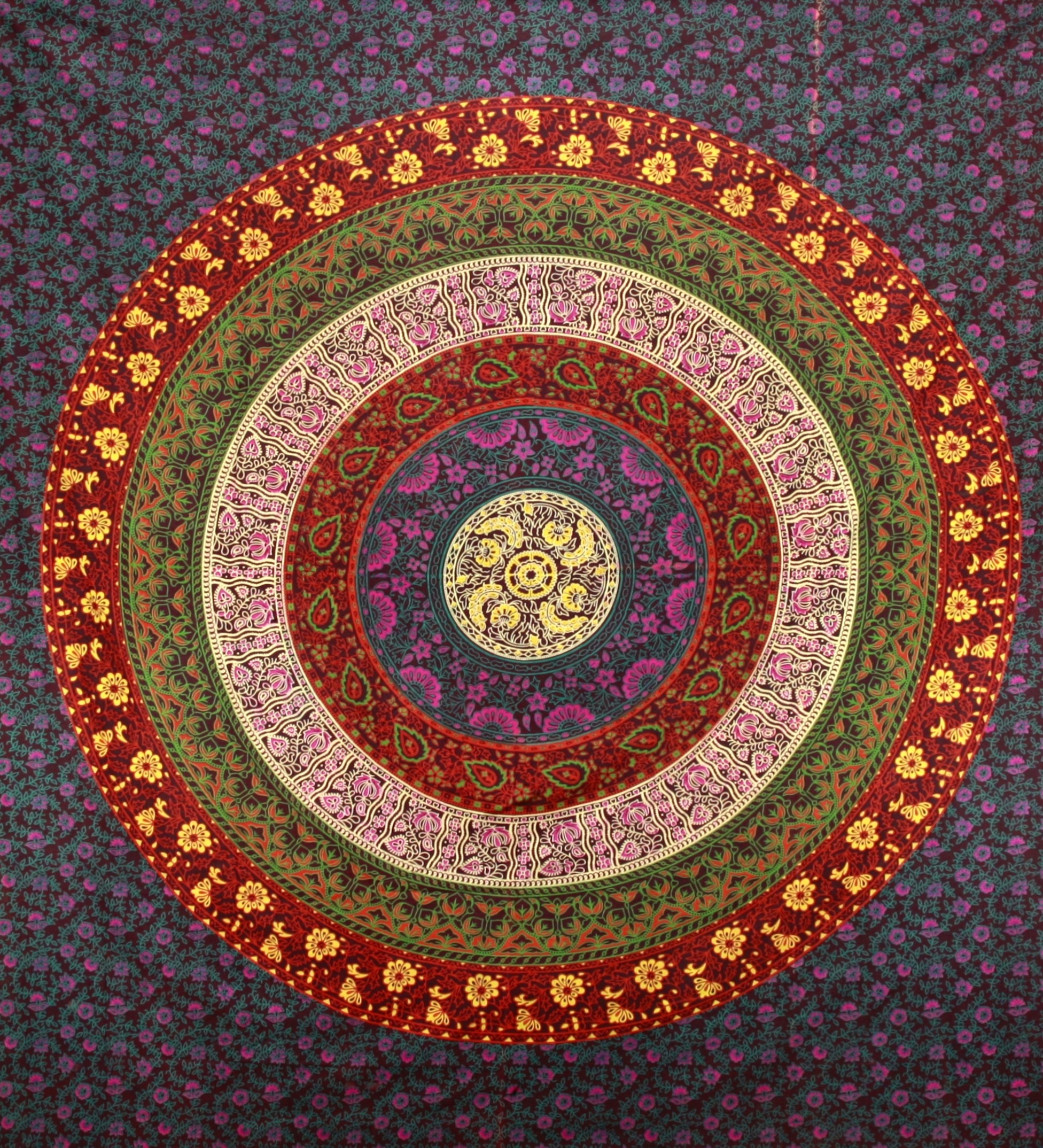 Sunshine Joy Circle Of Flowers Barhmeri Indian Tapestry – Beach Pertaining To Best And Newest Indian Fabric Art Wall Hangings (Gallery 5 of 15)