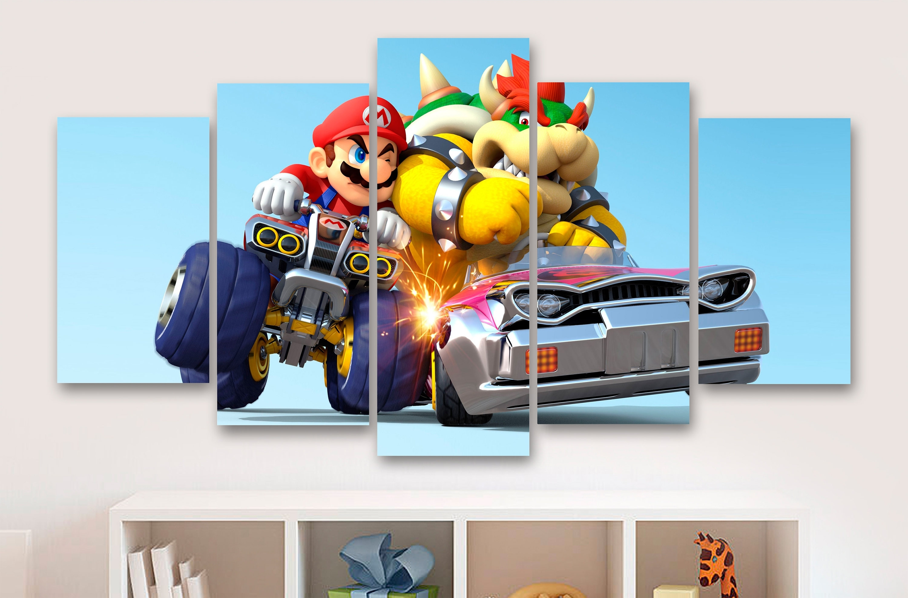 Super Mario Kart 5 Piece Canvas Gaming Canvas Childrens Intended For Most Up To Date Gaming Canvas Wall Art (View 12 of 15)