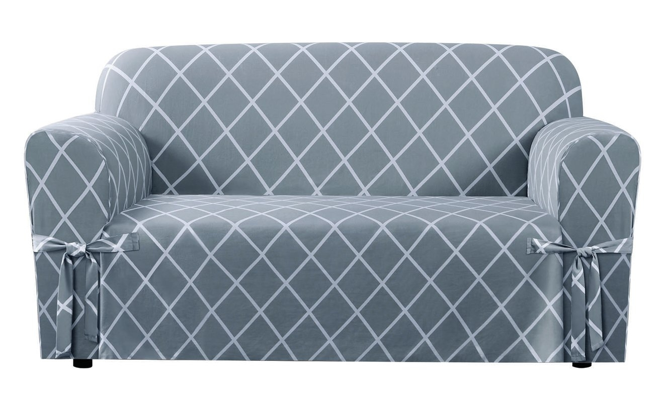 Sure Fit Lattice Box Cushion Loveseat Slipcover & Reviews | Wayfair With Latest Stretchable Fabric Wall Art (View 2 of 15)