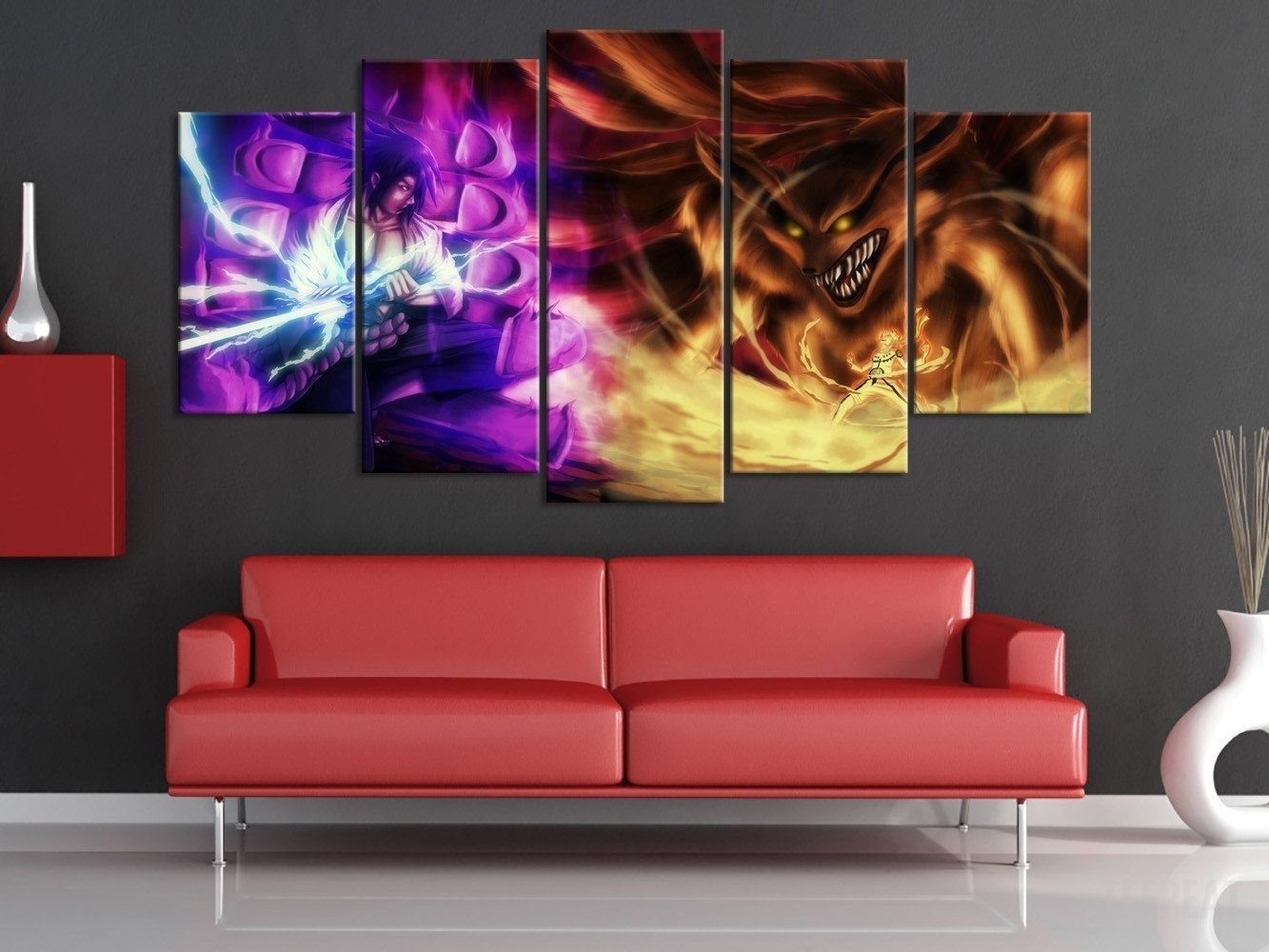 Susano Vs 9 Tail Beast 5 Piece Canvas | Cinema Themed Wall In Most Popular Framed Canvas Art Prints (Gallery 12 of 15)