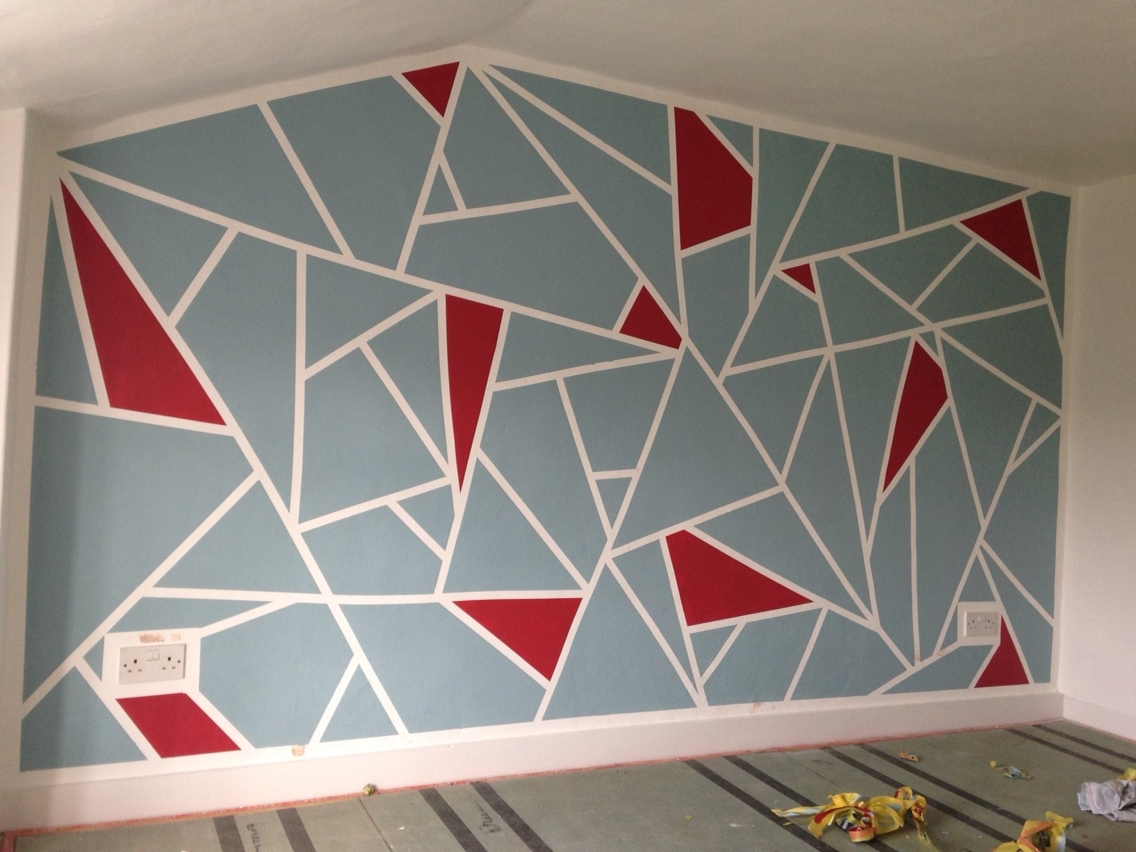 Tape Paint Cool Ways Walls Geometric Wall – Tierra Este | #90610 Pertaining To Most Recent Geometric Shapes Wall Accents (View 5 of 15)