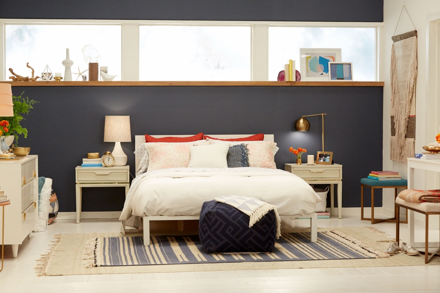 Target Chapter 7; Navy Blue Accent Wall Bedroom Makeover – Emily In 2018 Light Blue Wall Accents (Gallery 12 of 15)