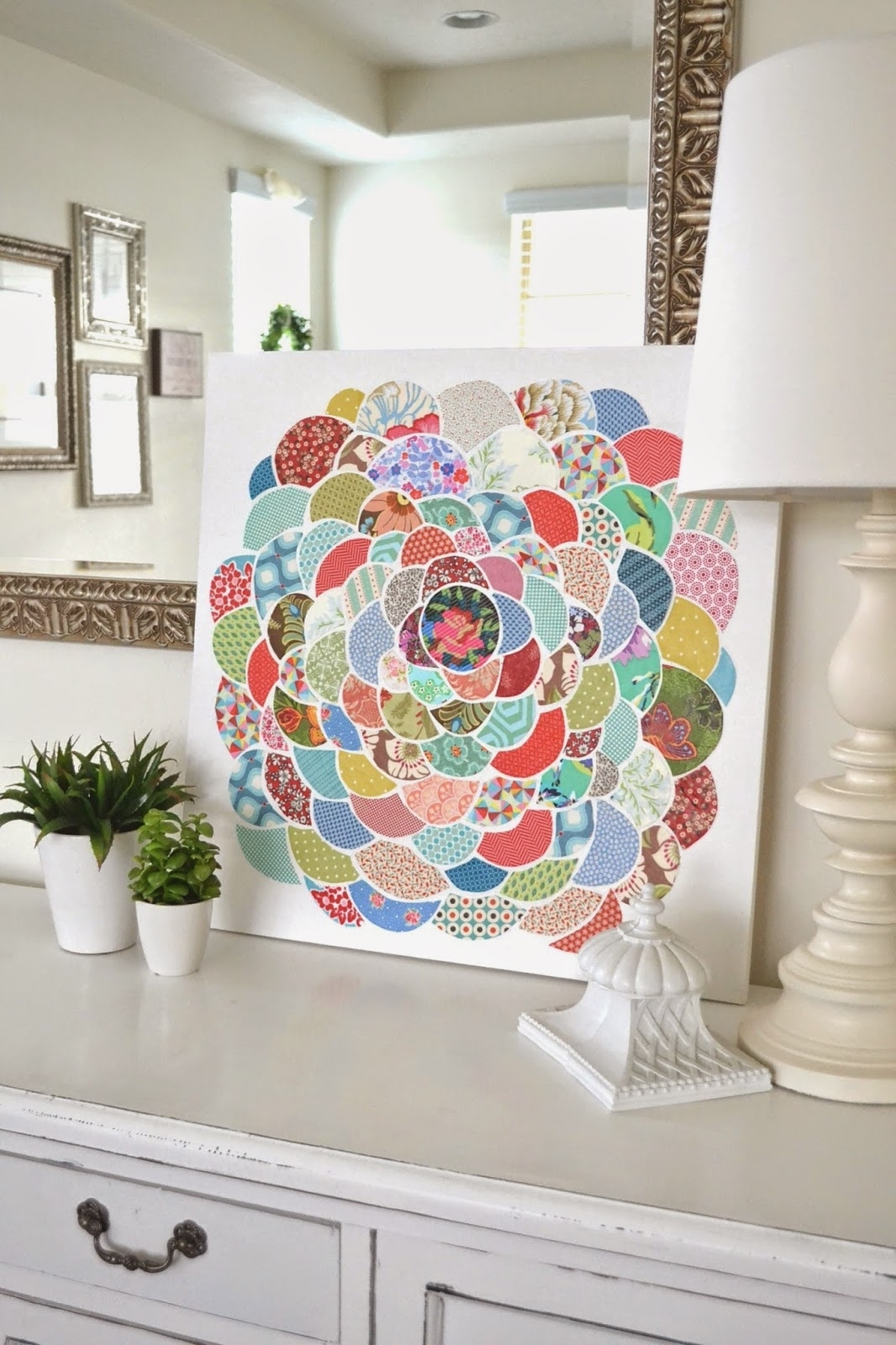 Tea Rose Home: Anthro Inspired ~ Canvas Flower Wall Art Pertaining To Most Popular Fabric Scrap Wall Art (View 12 of 15)
