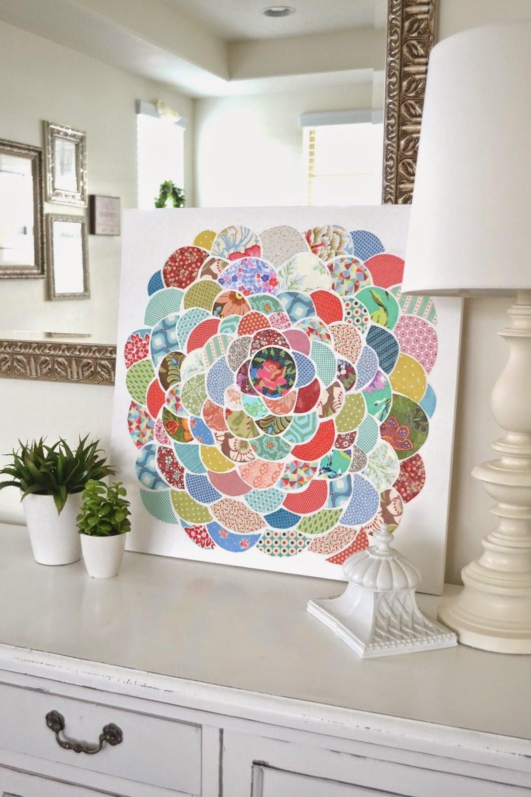 Tea Rose Home: Anthro Inspired ~ Canvas Flower Wall Art Regarding 2018 Fabric Circle Wall Art (View 7 of 15)