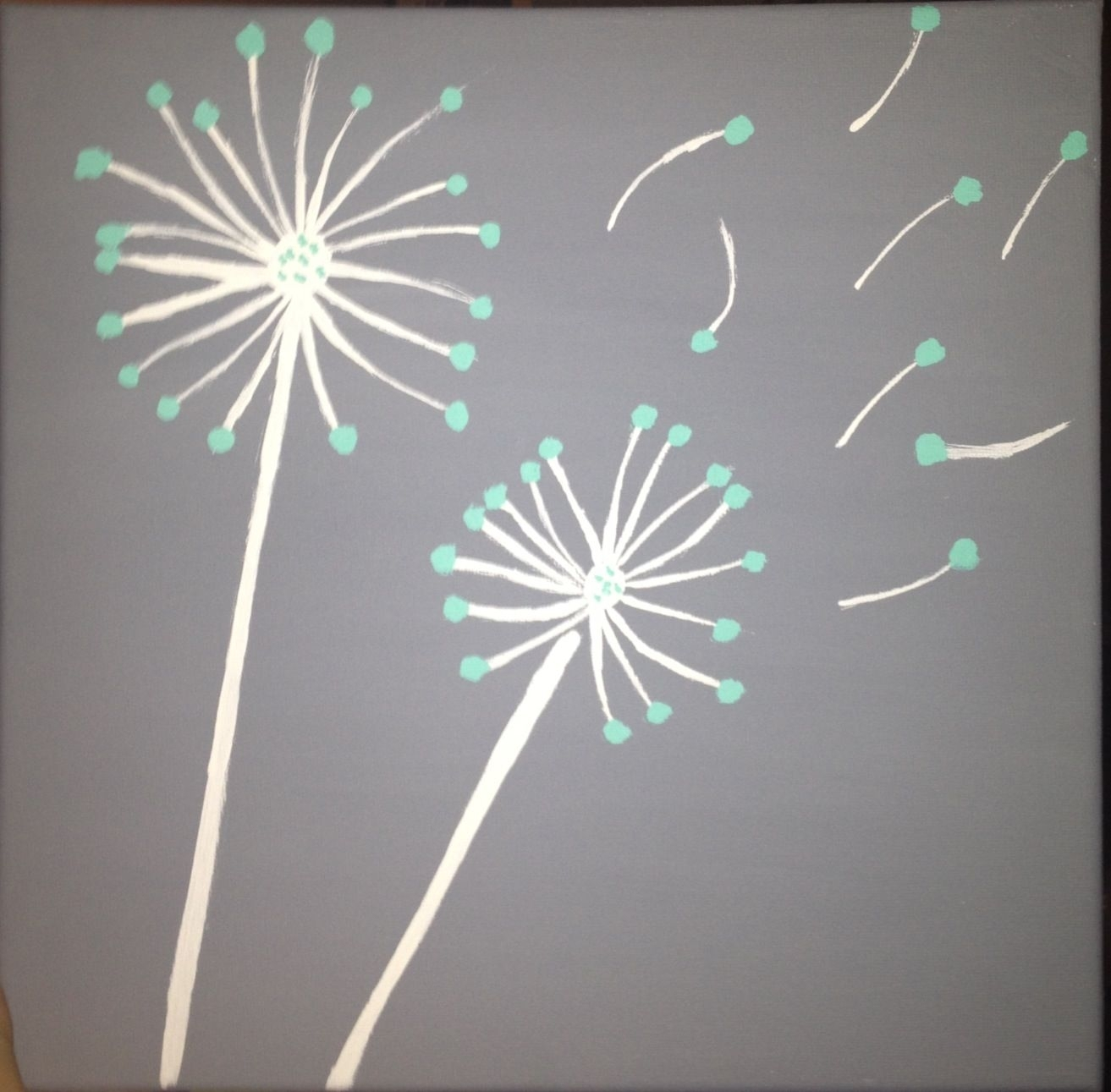 Teal And Gray Diy Dandelion Canvas Painting | Art | Pinterest In Most Up To Date Dandelion Canvas Wall Art (View 12 of 15)