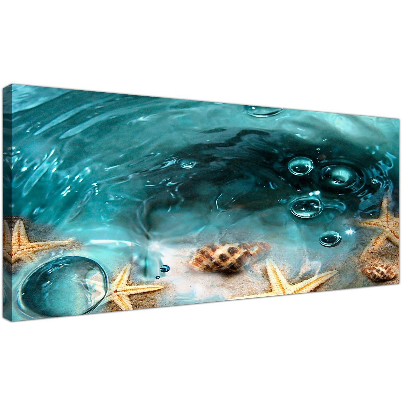 Teal Seaside Starfish In Sand Bathroom Wall Art Regarding 2018 Bathroom Canvas Wall Art (View 12 of 15)