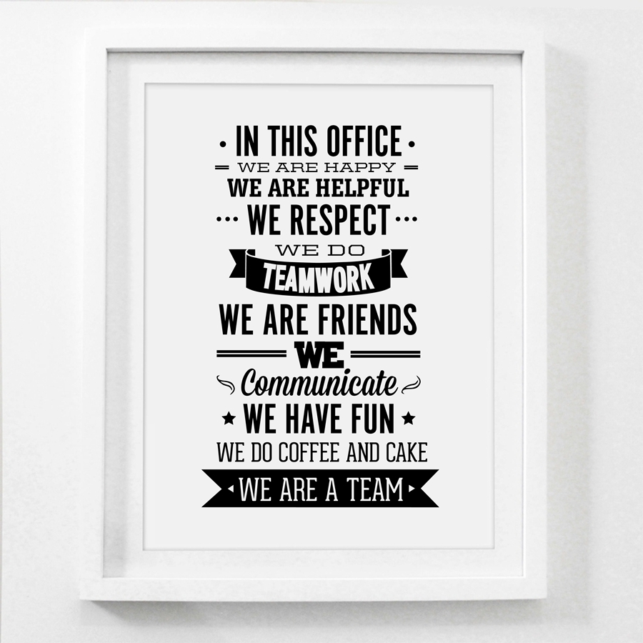 Team Office Rules Quote Canvas Painting Wall Art , Team Inspiring In Best And Newest Inspirational Quotes Canvas Wall Art (View 12 of 15)
