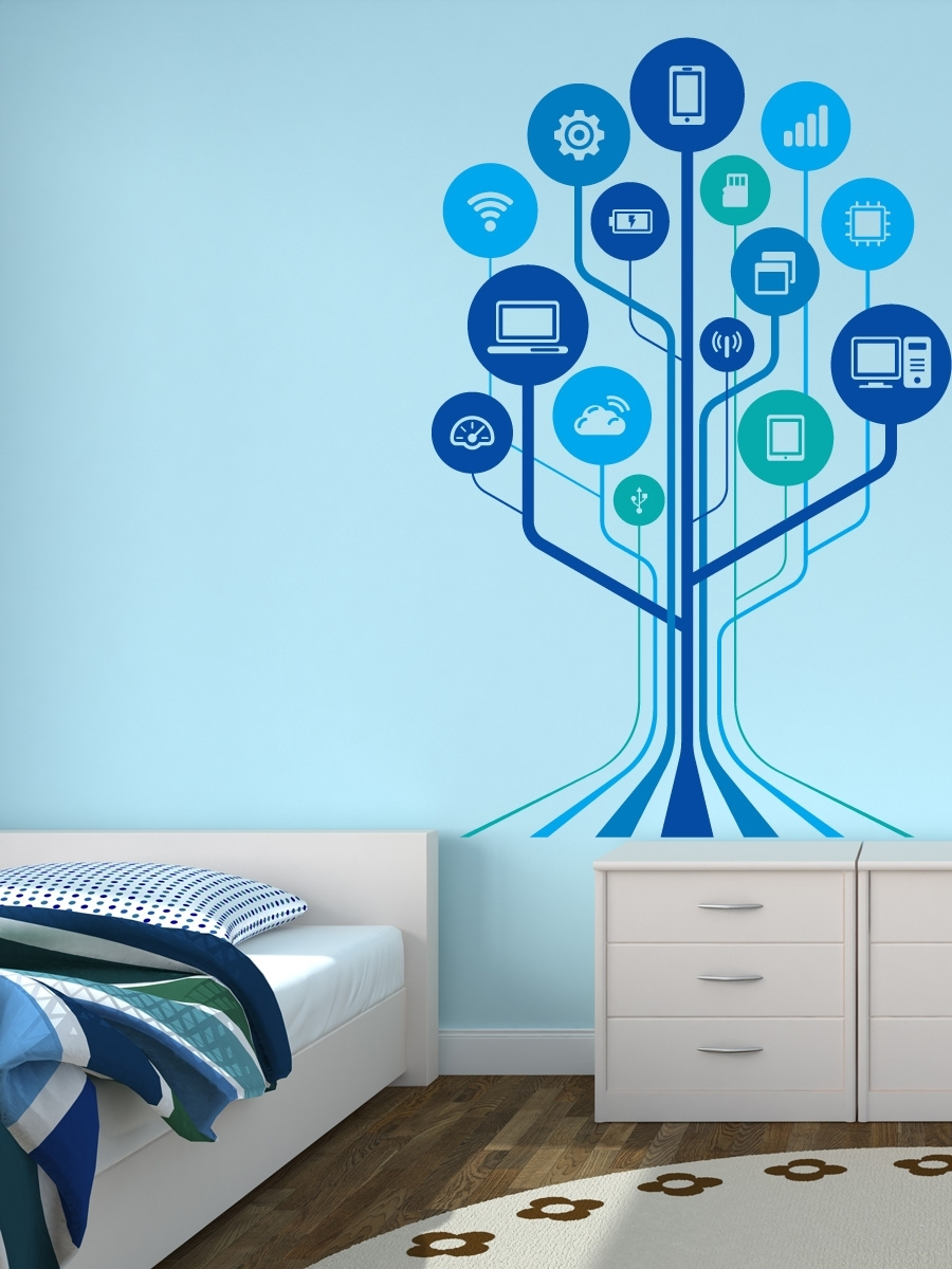 Technology Wall Decals – Google Search | Character Wall Stickers Within 2018 Adhesive Art Wall Accents (View 12 of 15)