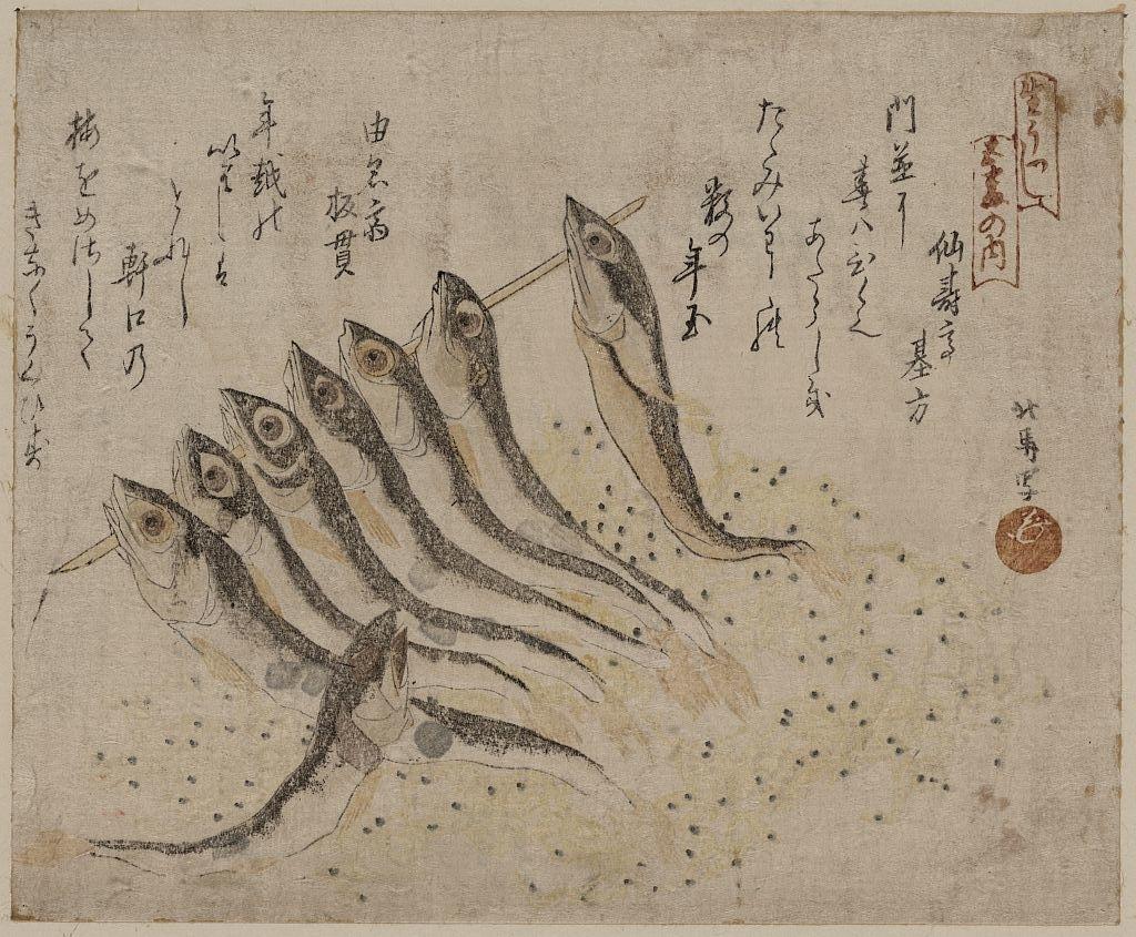 Teisai Hokuba????? Japanese, 1771 1844? Sardines ???? Regarding Current Framed Asian Art Prints (View 11 of 15)