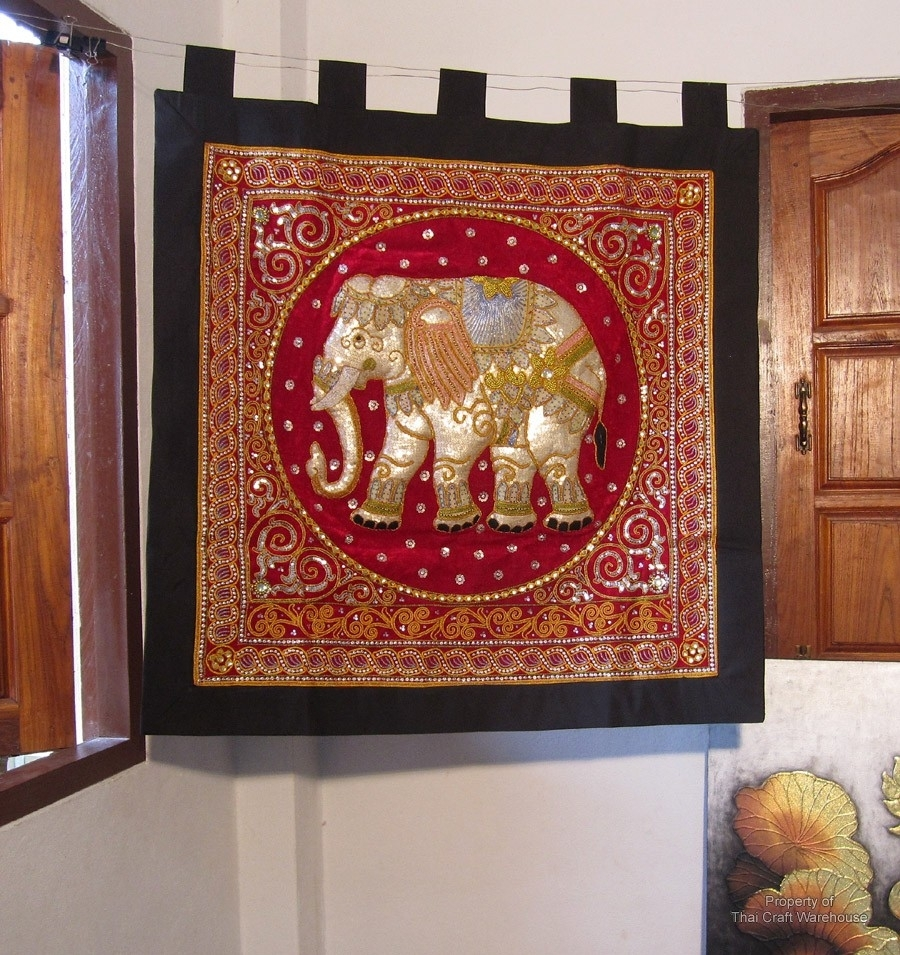 Thai Craft Warehouse – Large Elephant Wall Hanging Handmade Throughout Newest Handmade Textile Wall Art (View 8 of 15)