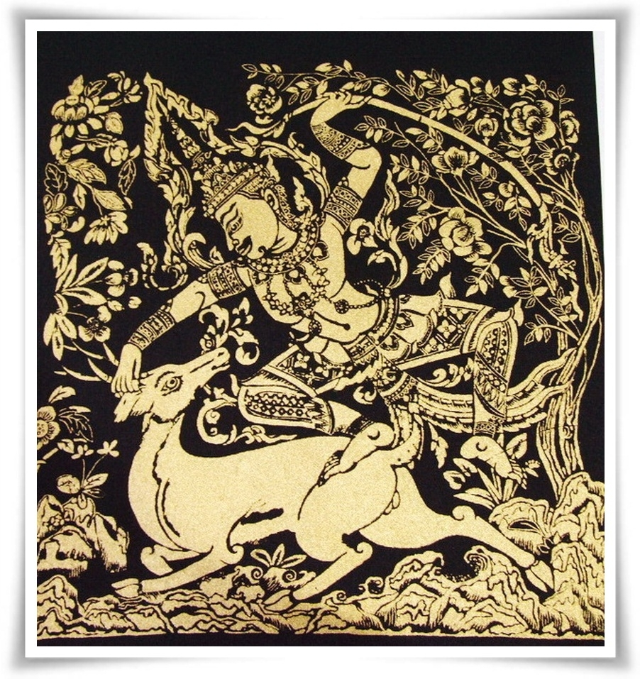 Thai Ramayana Silk Fabric Painting Wall Hanging Art,r12 | Painting For Recent Thai Fabric Wall Art (View 14 of 15)