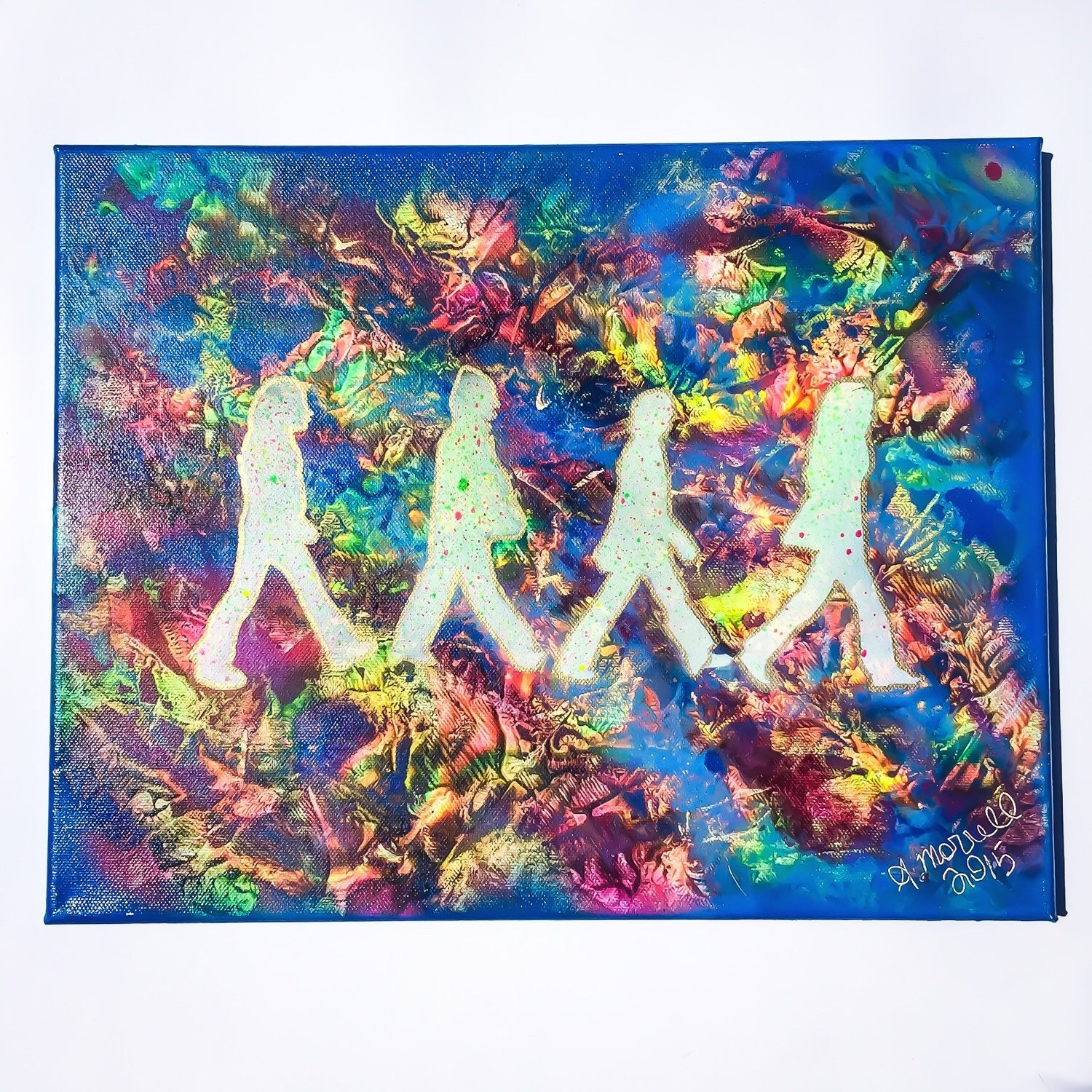 The Beatles Abbey Road Psychadelic Painting Spray Paint Art On Inside Most Current Rainbow Canvas Wall Art (View 14 of 15)