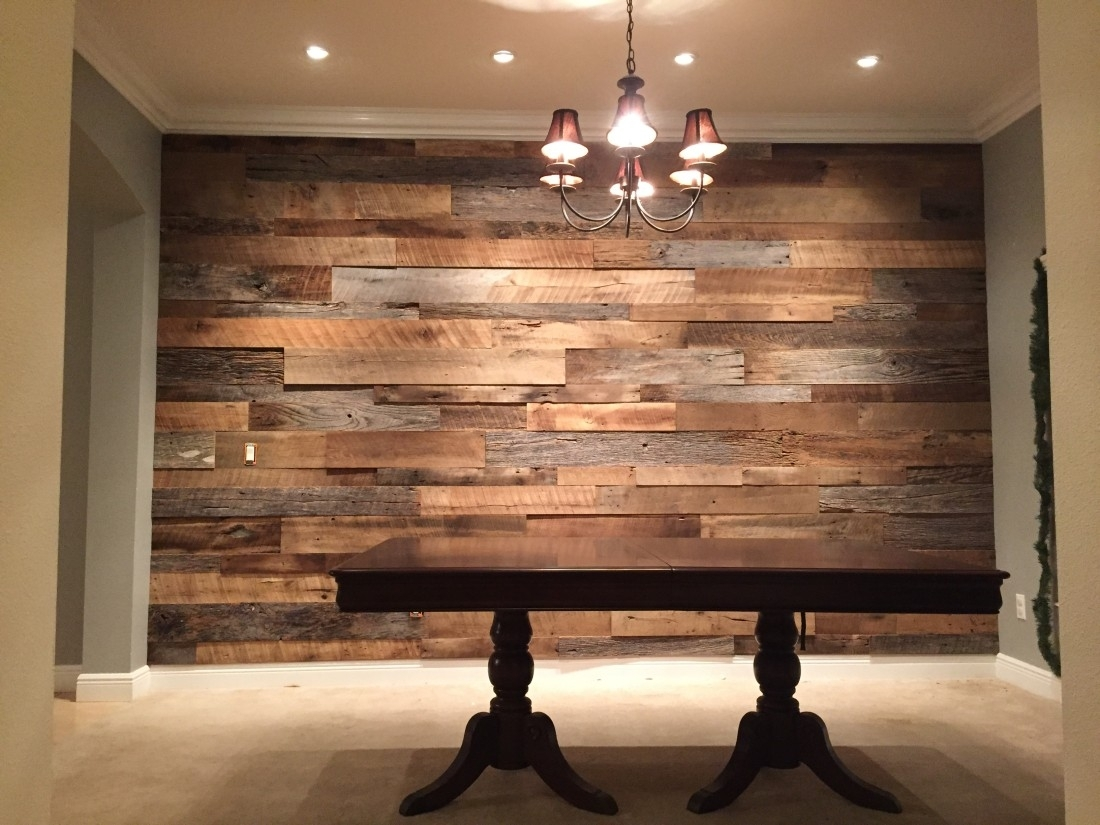 The Hughes Dining Room Reclaimed Wood Accent Wall Fama Creations For Most Up To Date Reclaimed Wood Wall Accents (View 2 of 15)