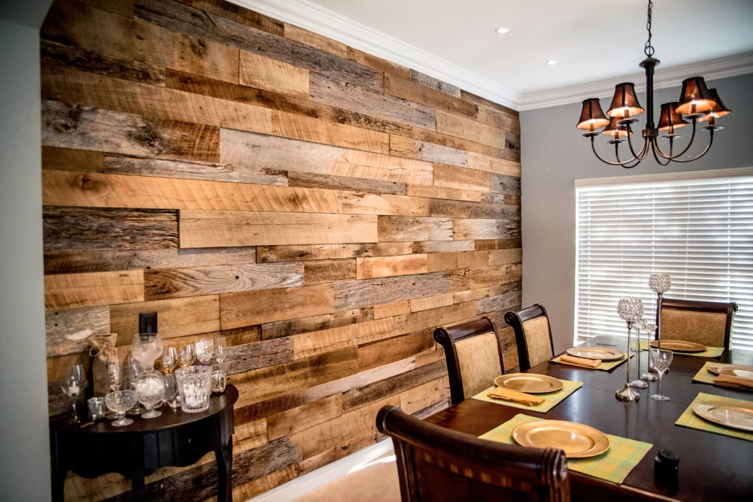 The Hughes' Dining Room Reclaimed Wood Accent Wall | Fama Creations In Most Current Wood Wall Accents (View 6 of 15)
