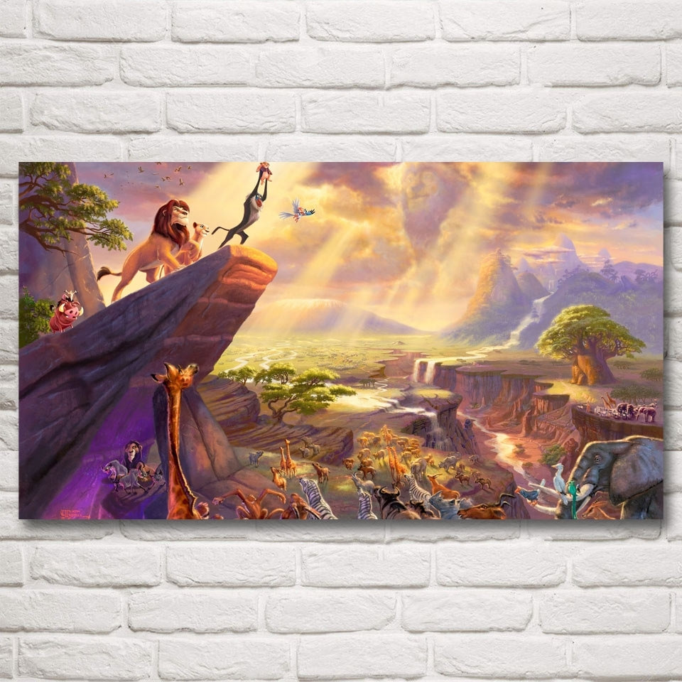 The Lion King Movie Art Silk Fabric Poster Prints Home Wall Decor For Newest Silk Fabric Wall Art (Gallery 11 of 15)