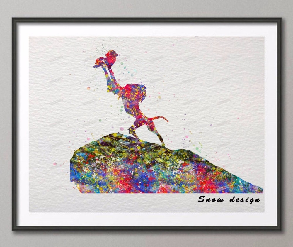 The Lion King Rafiki Simba Original Watercolor Canvas Painting With Recent Lion King Canvas Wall Art (View 10 of 15)