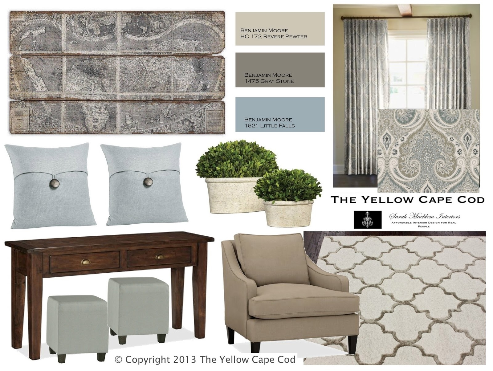 The Yellow Cape Cod| Revere Pewter With Light Blue Accents And Within 2018 Wall Accents For Revere Pewter (View 5 of 15)