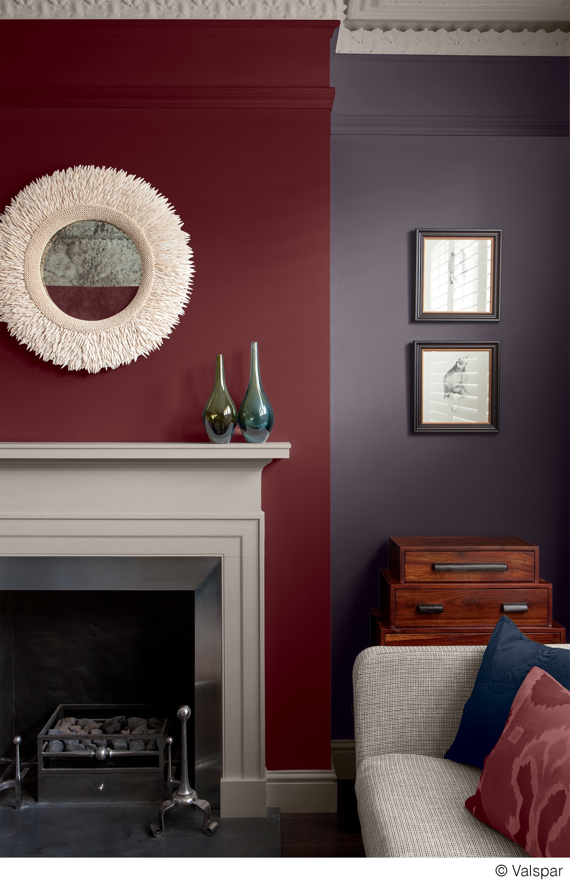 This Mix Of Colors And Textures Makes For A Cozy, Comfortable Room For Newest Maroon Wall Accents (Gallery 11 of 15)