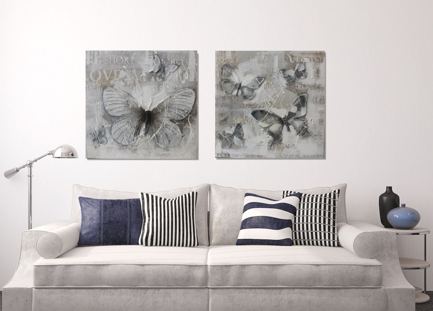Three Dimsional 3d Rey Butterfly Painting Wall Canvas Eluxury Home Pertaining To Most Recent Grey Canvas Wall Art (View 8 of 15)
