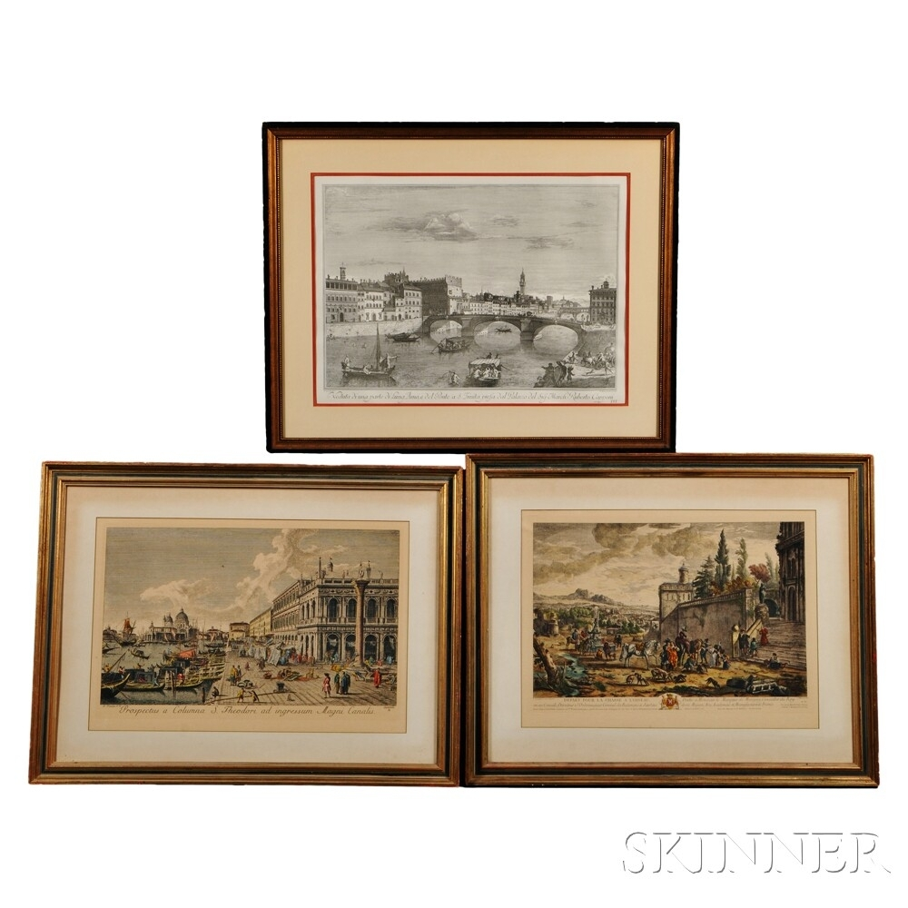 Three Framed Prints Of European Subjects:, Antonio Visentini Within Current European Framed Art Prints (View 14 of 15)