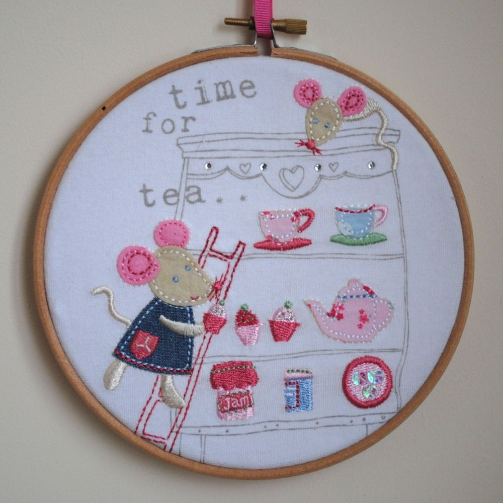 Time For Tea – Mice Afternoon Tea Applique Embroidery Hoop Wall With Most Recent Fabric Hoop Wall Art (View 11 of 15)
