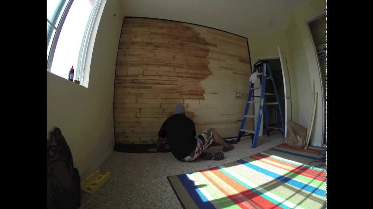 Time Lapse Video Of Me Staining My Son's Wood Paneled Accent Wall Regarding Recent Wood Paneling Wall Accents (View 10 of 15)