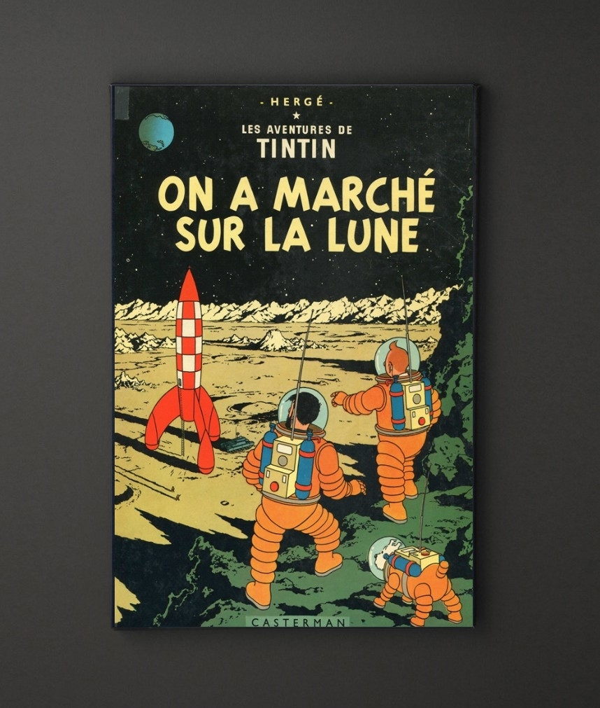 Tin Tin Marche Sur Lune A4 Framed/box Canvas A4 A3 A2 A1 Gift Within Recent Leadgate Canvas Wall Art (View 15 of 15)