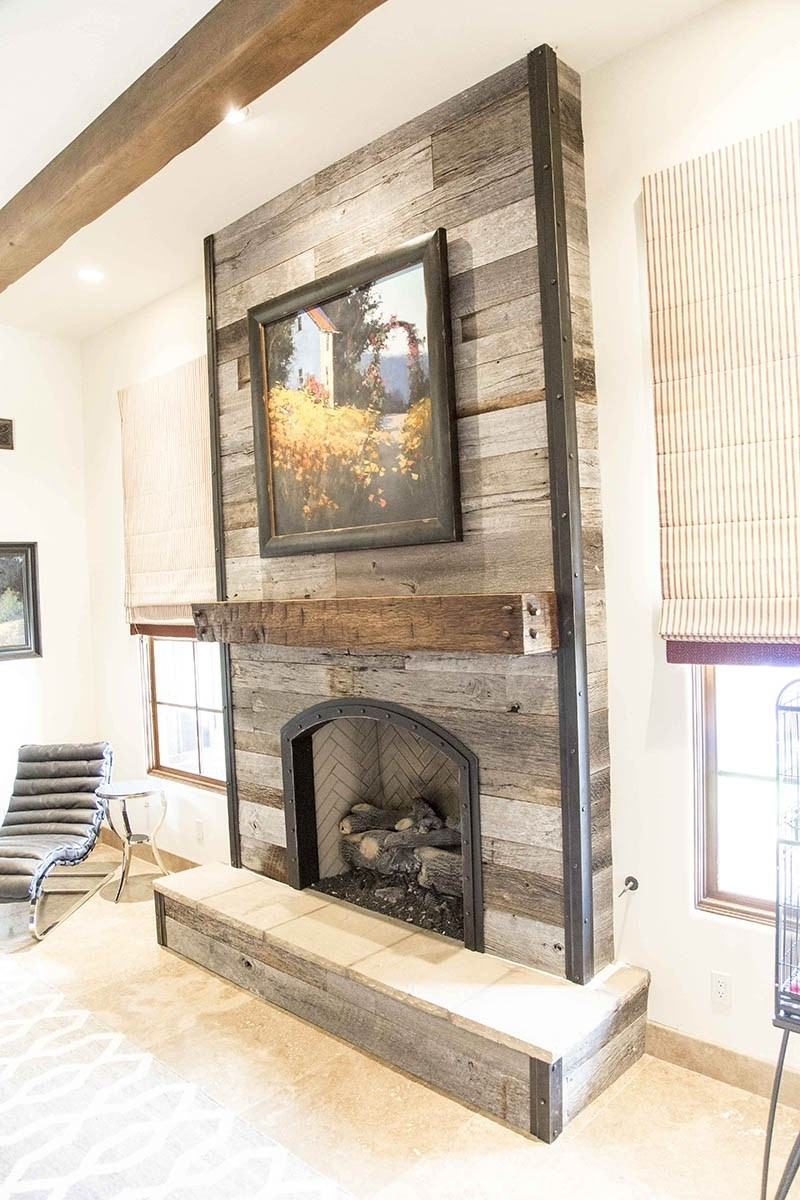 Tobacco Barn Grey Fireplace Wood Wall W Steel Trim Porter Barn For Latest Fireplace Wall Accents (View 11 of 15)