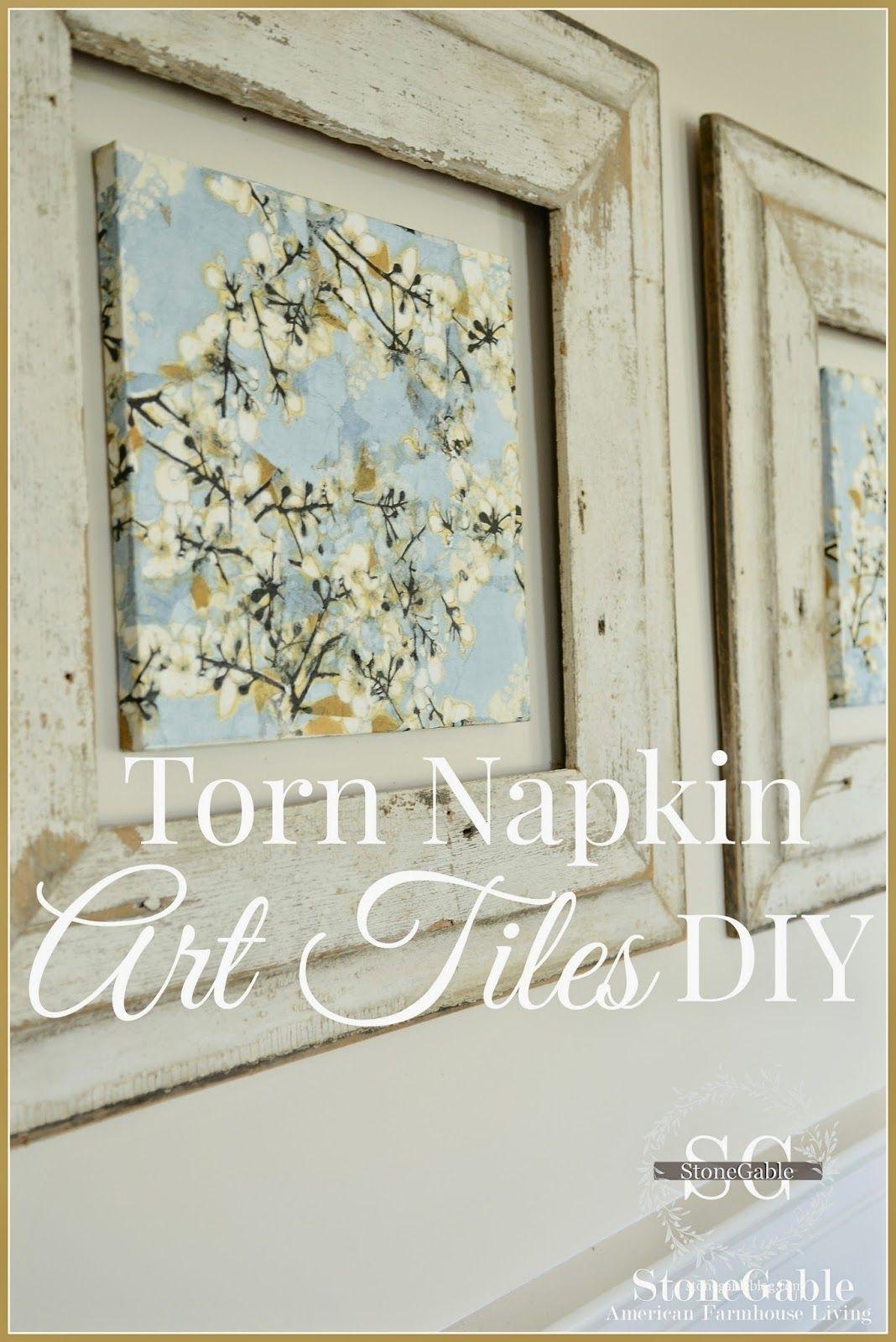 Torn Napkin Art Tiles Diy | Diy Canvas, Napkins And Art Tiles In Recent Fabric Decoupage Wall Art (View 4 of 15)