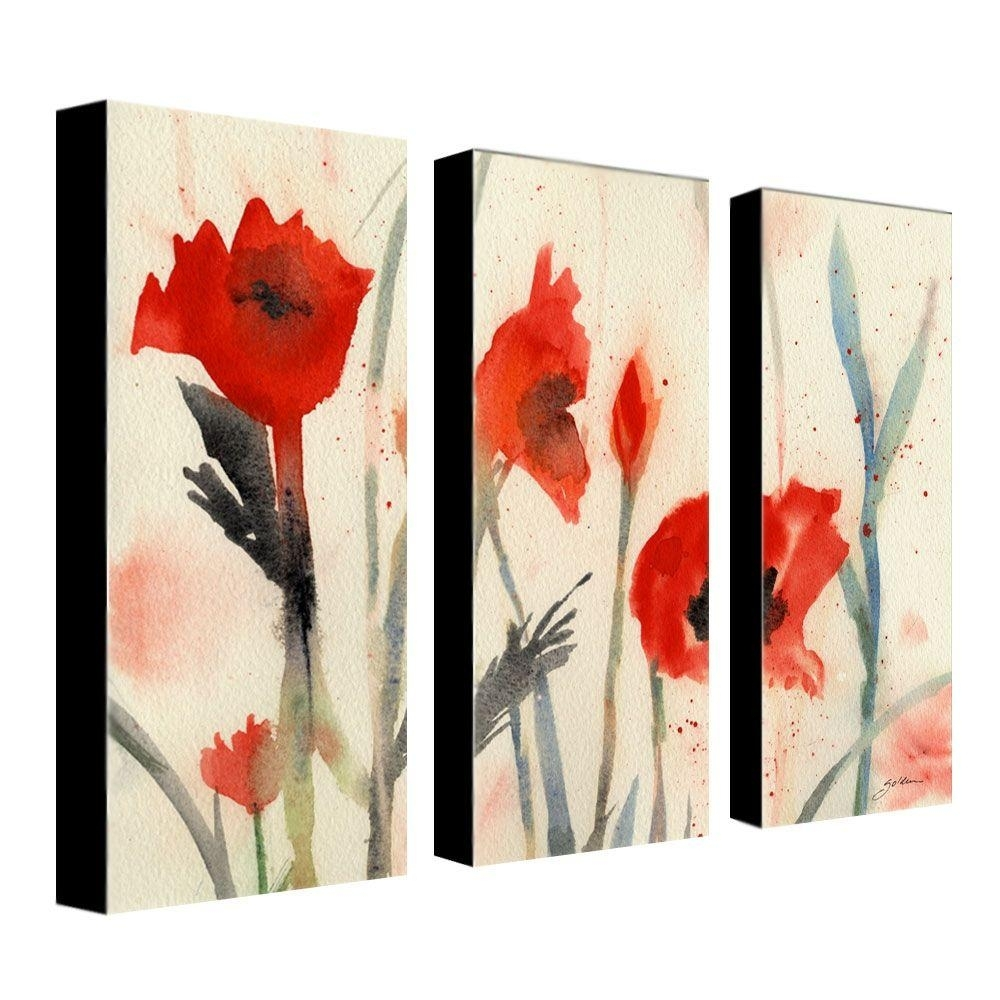 Trademark Fine Art 10 In. X 24 In. Poppies 3 Piece Canvas Art Set With Regard To Recent Poppies Canvas Wall Art (Gallery 13 of 15)