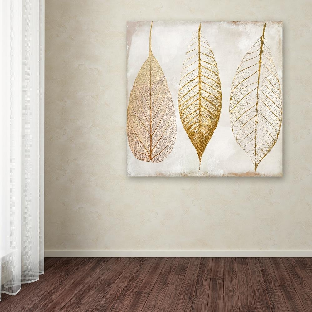 "Trademark Fine Art 35 In. X 35 In. ""fallen Gold Ii""color Regarding Most Recently Released Gold Canvas Wall Art (Gallery 1 of 15)"
