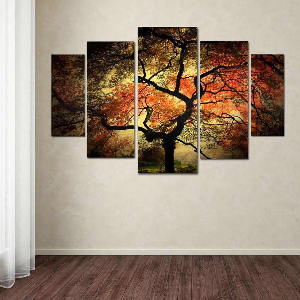 Trademark Fine Art Japanesephilippe Sainte Laudy 5 Panel Wall With Regard To Most Recently Released Canvas Wall Art Of Trees (View 14 of 15)