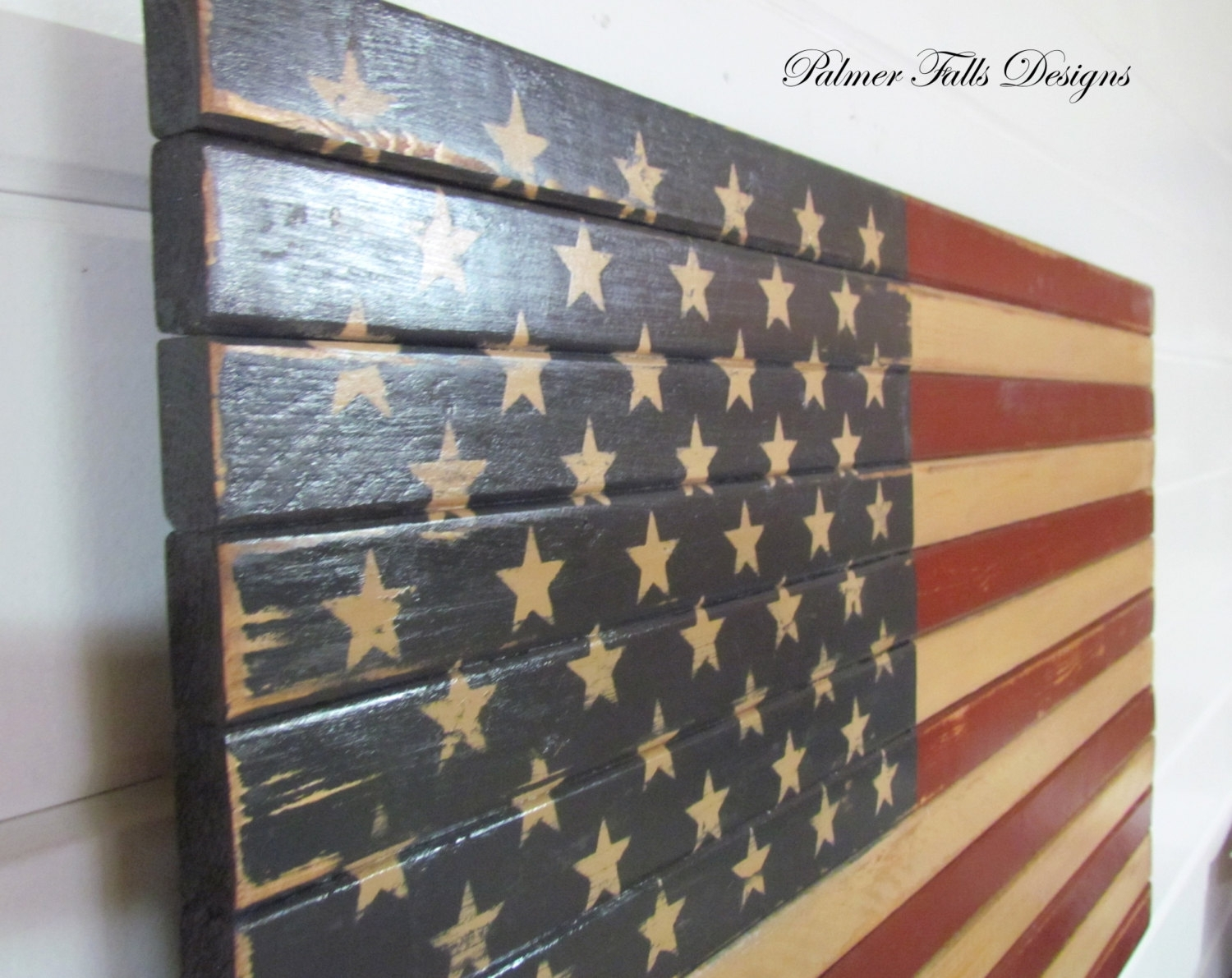 Traditional Wood American Flag / Patriotic Decor / Flag Wall Inside Current American Flag Fabric Wall Art (View 13 of 15)