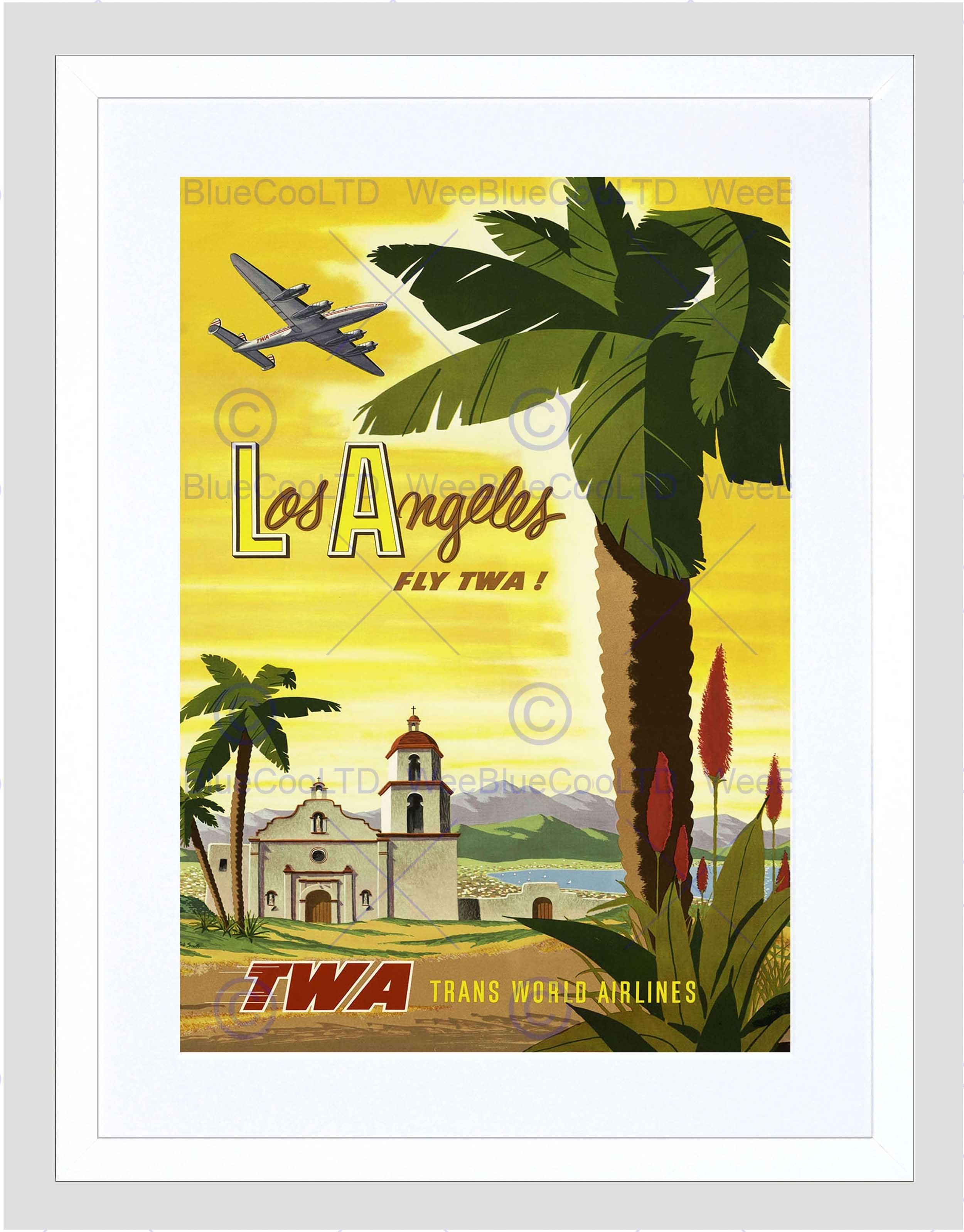Travel Twa Airline Los Angeles California Palm Vintage Framed Art In Most Up To Date Los Angeles Framed Art Prints (View 9 of 15)