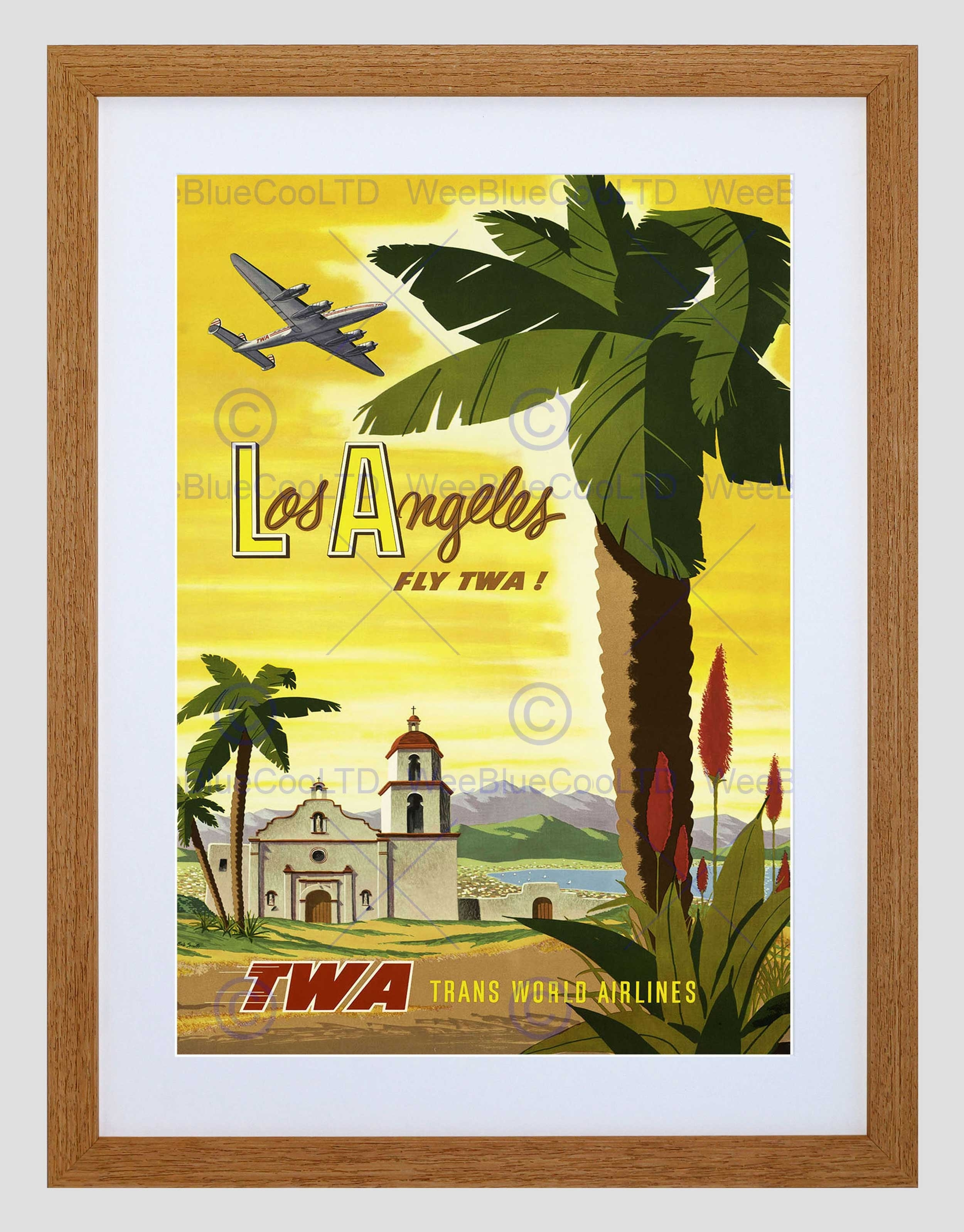 Travel Twa Airline Los Angeles California Palm Vintage Framed Art Inside Current Los Angeles Framed Art Prints (View 3 of 15)