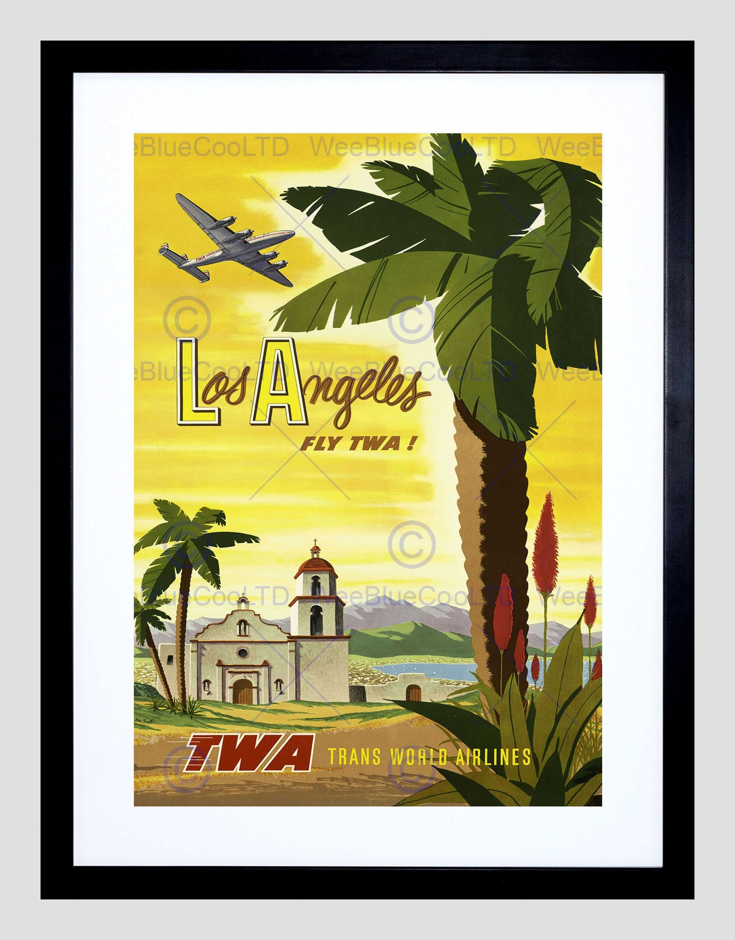 Travel Twa Airline Los Angeles California Palm Vintage Framed Art Pertaining To Most Recent Los Angeles Framed Art Prints (View 5 of 15)