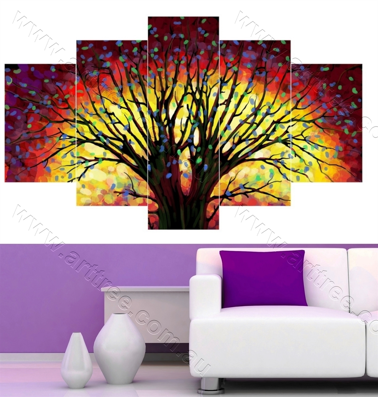 Tree Art Five Piece Canvas Print, Wall Art Brisbane | 5 Piece Throughout Most Recently Released Brisbane Canvas Wall Art (Gallery 15 of 15)