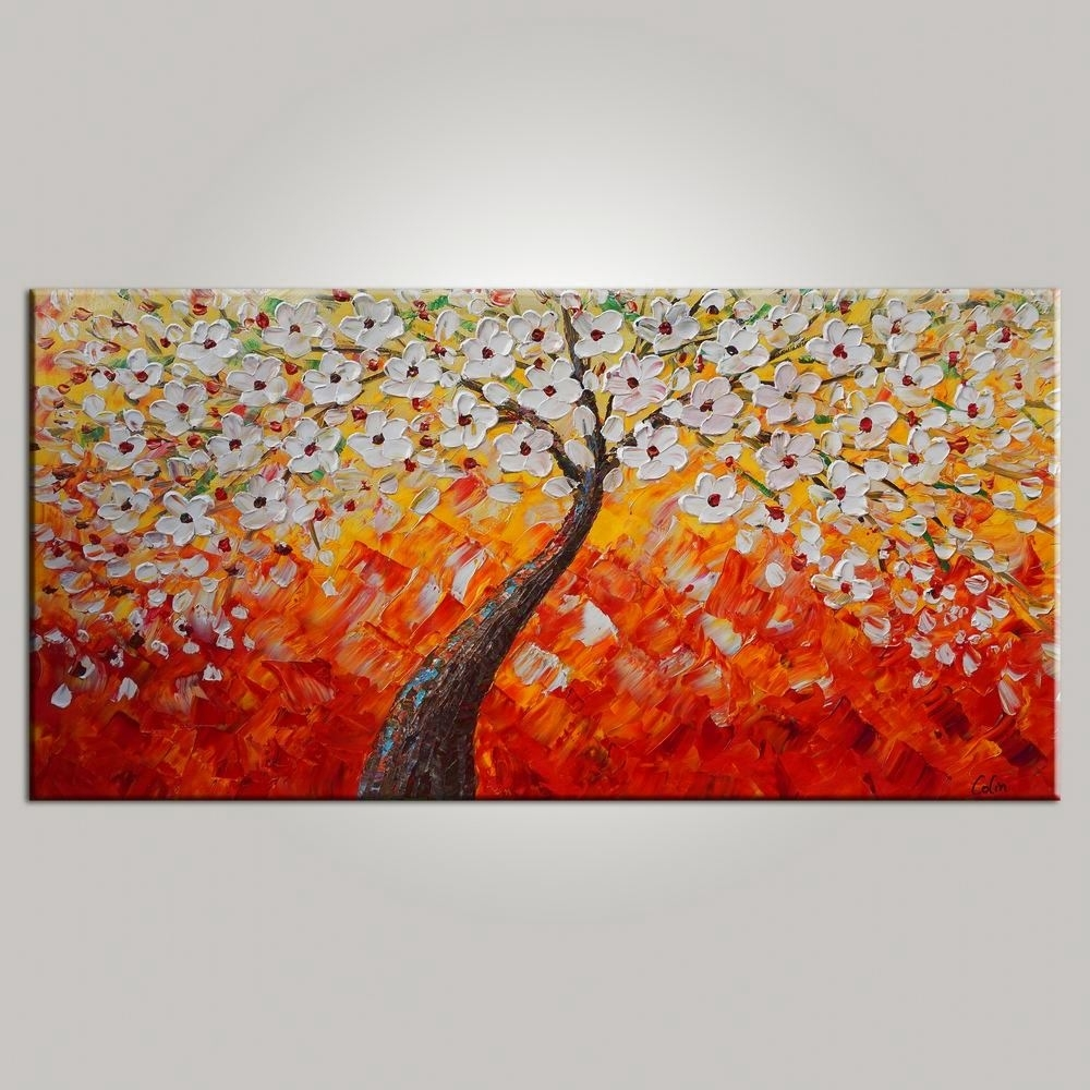 Tree Painting, Dining Room Wall Art, Flower Painting, Abstract With Regard To 2017 Canvas Wall Art For Dining Room (View 10 of 15)