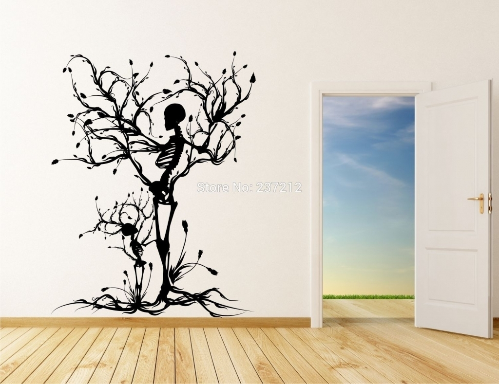 Tree Vinyl Wall Art Stickers Decals Skull Tree Halloween Wall In With Regard To Latest Vinyl Stickers Wall Accents (View 9 of 15)