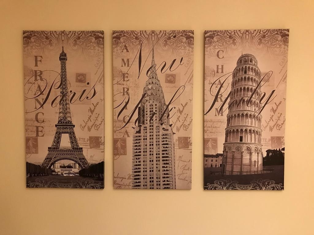 Triple Canvas Wall Art France Italy America Beige Brown Cream In Best And Newest Gumtree Canvas Wall Art (View 11 of 15)