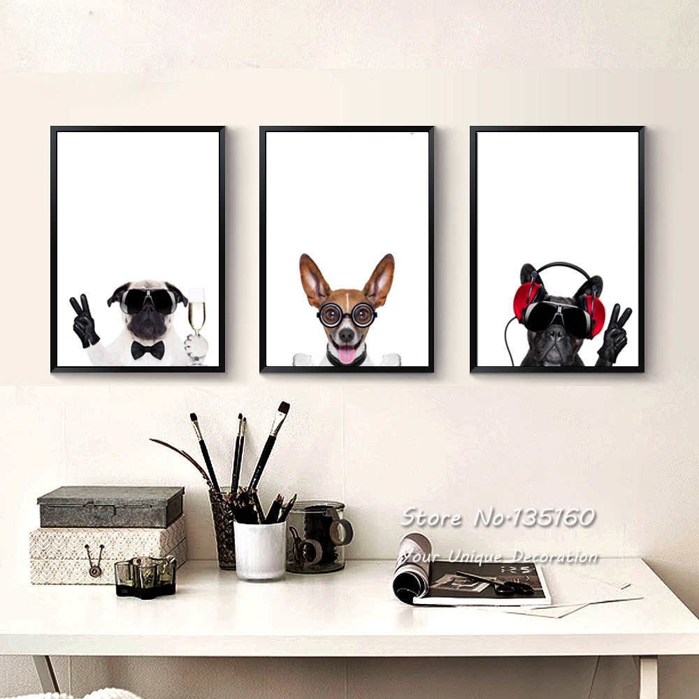 Triptych Canvas Art Pet Dogs Prints Nursery Baby Bedroom Animated For 2018 Funky Art Framed Prints (Gallery 9 of 15)
