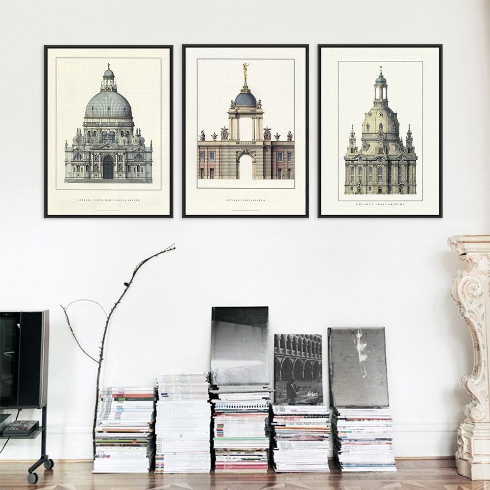 Triptych Classic European Palace Famous Scenery Art Prints Poster With Regard To Best And Newest Architectural Wall Accents (Gallery 8 of 15)