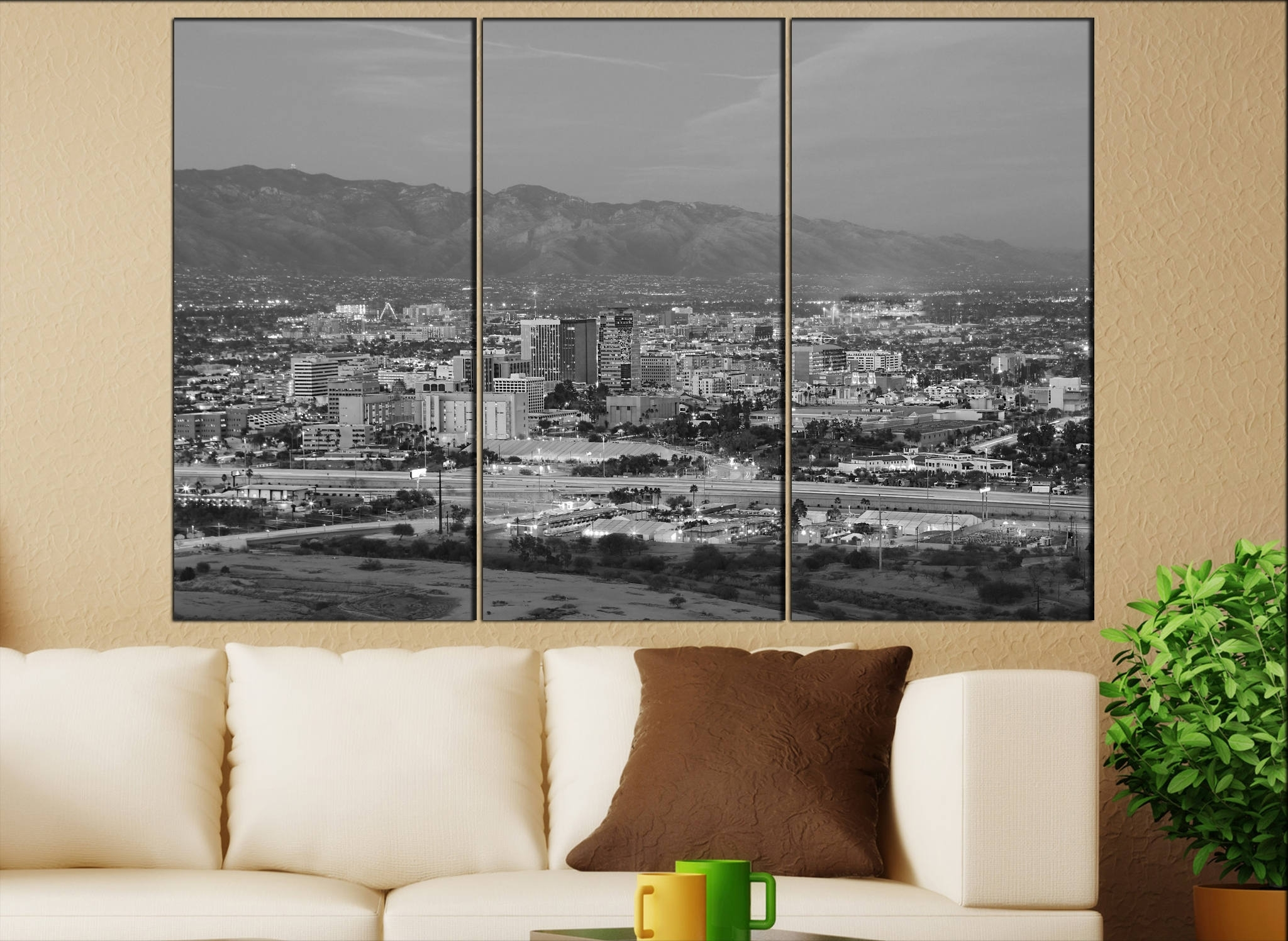 Tucson, Arizona Skyline Canvas Wall Art Tucson Canvas Wall Art Art With Most Recent Arizona Canvas Wall Art (View 5 of 15)