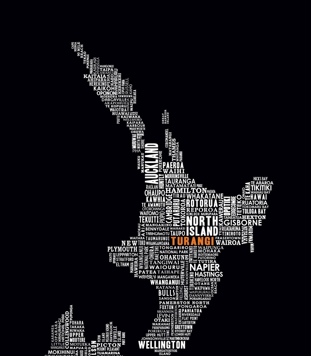 Turangi In Orange! Order A Typography Map Of New Zealand In With Within 2018 New Zealand Canvas Wall Art (View 10 of 15)