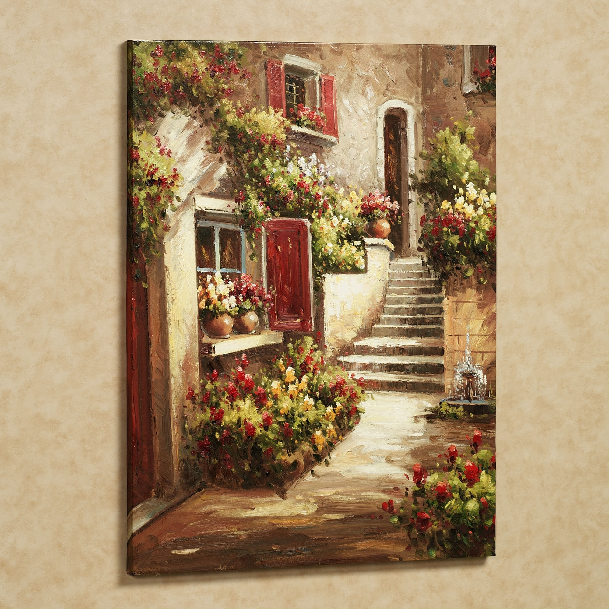 Tuscany Art | Home Tuscan Flowers Canvas Art Red | Art Tuscany Throughout Newest Italy Canvas Wall Art (View 11 of 15)