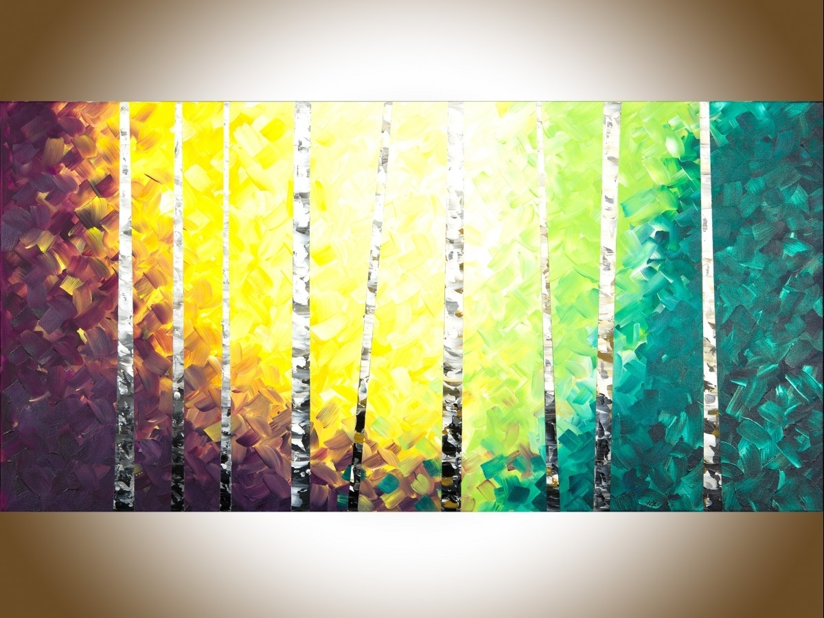 """Twilight Birch Treesqiqigallery 48"""" X 24"""" Colourful Painting With Regard To Most Popular Birch Trees Canvas Wall Art (View 14 of 15)"""