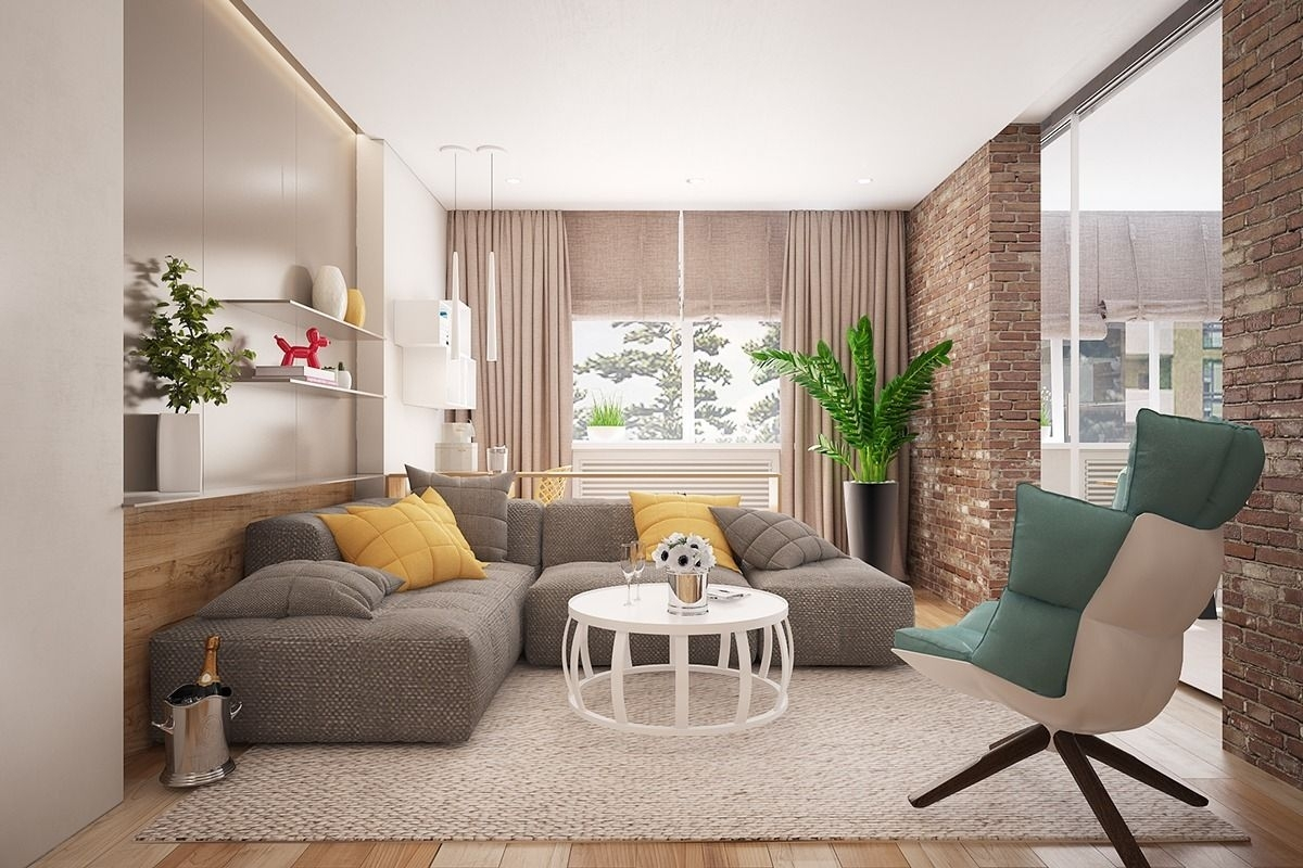 Types Of Contemporary Living Room Design Ideas Exposed With Brick Pertaining To 2018 Exposed Brick Wall Accents (View 6 of 15)