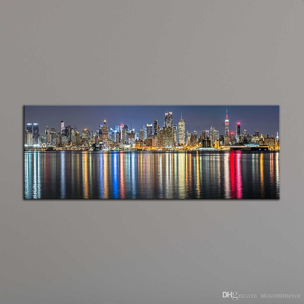 Unframe New York City Canvas Painting Panoramic Home Decor Canvas throughout 2017 Panoramic Canvas Wall Art