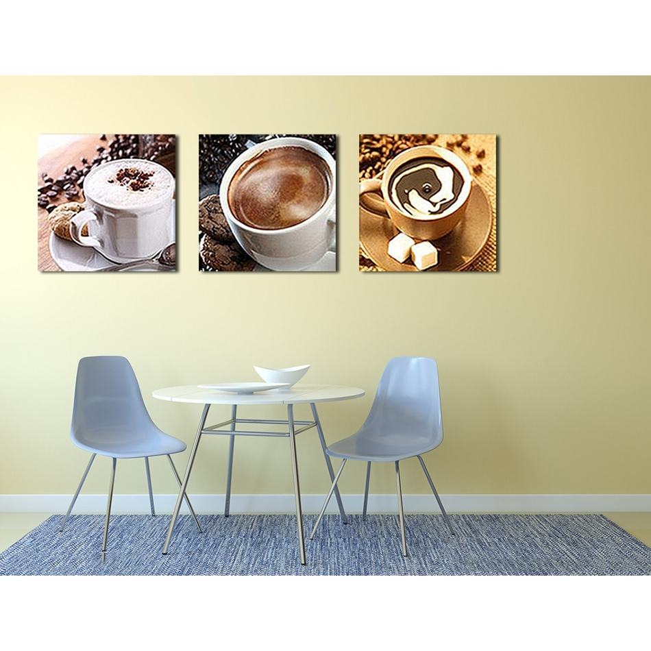 Unframed 3 Panel Food And Cup Of Coffee Tea Modern Canvas Print Inside 2017 Coffee Canvas Wall Art (Gallery 12 of 15)